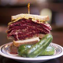 Schlesinger's Deli, Philadelphia.  Traditional Jewish deli.  AMAZING chopped liver, reubens, and free pickle bar!