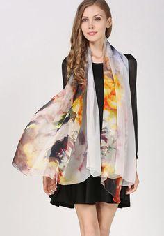 Elegantná hodvábna dámska šatka - 180 x 110 cm - vzor 6 Kimono Top, Women's Fashion, Outfit, Tops, Outfits, Fashion Women, Womens Fashion, Woman Fashion