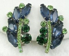 DeLizza & Elster Blue & Green Rhinestone Earrings - Garden Party Collection Vintage Jewelry
