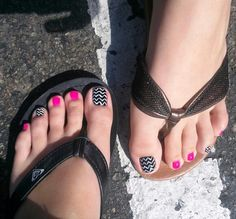 Our creative hot pink and chevron pedicures