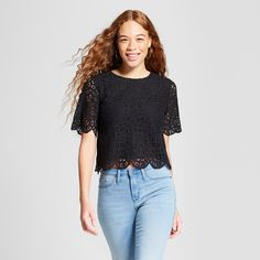 Women's Lace Top with Back Button Detail - Mossimo™ Black