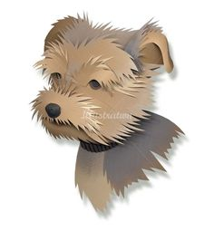 Digital 3D collage of Yorkshire terrier dog - work in paper pieces - pencil shading adds to effect