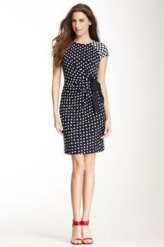 Contrast Cap Sleeve Printed Dress by Taylor on @HauteLook