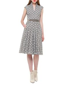Square-Print+Cap-Sleeve+A-Line+Dress,+Silver/Charcoal+by+Akris+at+Neiman+Marcus.
