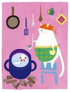 cocinando, ilustración de Mai OHNO (Denali)