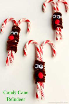 Candy cane reindeer craft!  A fun Christmas treat. Would be great for a Christmas party! Great Christmas party treat!