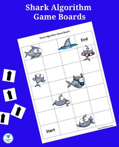 Offline Coding Academy -Printable Shark Algorithm Game Boards - JDaniel4s Mom Coding Academy, Coding For Kids, Learn To Code, Kids Learning, Board Games, Shark, Activities For Kids, Role Playing Board Games, Tabletop Games