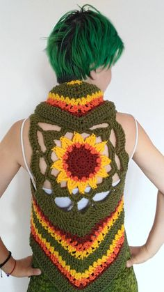 Crochet Sunflower Vest - lovely flower for all the fairies and festival lovers out there <3