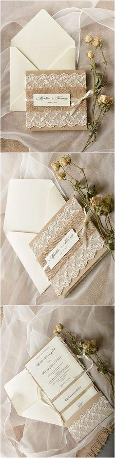 Rustic Burlap Lace Poketfold Wedding Invitations - Deer Pearl Flowers