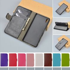 Hot Selling Wallet Style PU Leather Case for Sony Xperia Z5 with Stand Function and Card Holder 9 Color free shipping