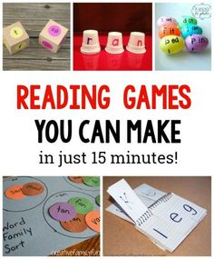 10 Simple to Make Reading Games for Kids. These are great for learning sight words word families and more Love these hands on ideas for Preschool Kindergarten grade grade and grade kids (great with Dolche words in homeschool) Reading Games For Kids, Reading Skills, Teaching Reading, Fun Learning, Educational Games For Kids, Educational Crafts, Reading Groups, Educational Websites, Preschool Learning