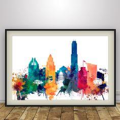 Austin Skyline, Austin Texas Poster, Cityscape Wall Art Print, Digital Print…