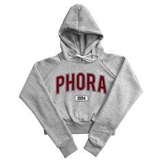 Image of PHORA 1994 UNIVERSITY CROP HOODIE (GREY & BURGUNDY) [LIMITED AMOUNT]