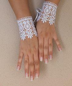 White Bridal Glove,White lace gloves, Fingerless Glove,