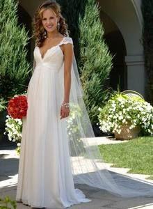 2012 Absorbing Abest Sälja Elegant V - Neck Empire Wasit Cap Style Ärm Jacka Chiffong Satin Sopa Train Beach brudklänning