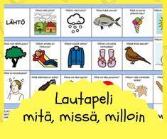 Tulostettavat pelit Speech Therapy, Special Education, Vocabulary, Board Games, Children, Kids, Kindergarten, Preschool, Language