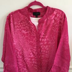 Investments sheer floral pink blouse jacket Investments sheer floral pink button blue / jacket. Beautiful for spring over shells or tops tops to finish your outfit. Light weight 3/4 length sleeves. Nice, bright pink. Excellent condition. 3X. Investments Tops