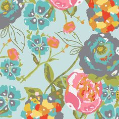 Lilly Belle  Garden Rocket in Turquoise LB1100  by MoonaFabrics