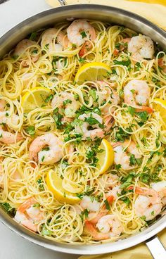 Lemon-Garlic Angel Hair Pasta with Shrimp - This is so easy to throw together and it tastes AMAZING! I love the lemon shrimp combo.