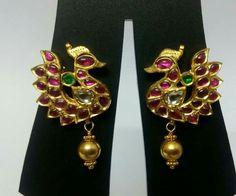 Peacock earrings, Kempu Jewellery, Temple Jewellery