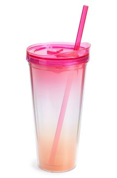 Ombré hues make this eye-catching tumbler a stylish way to sip on the go.