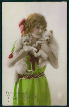 Pretty Deco Lady Spitz Pomeranian Dog Puppy original old 1920s photo postcard