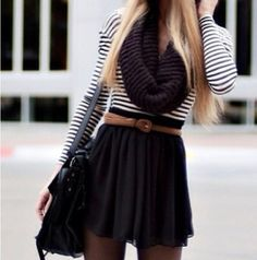 Fall Fashion Trend! Short skirt and tights!