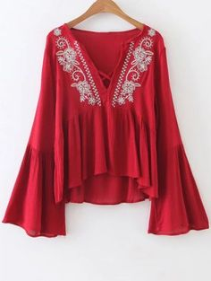 ZAFUL 2017 Women Embroidery Blouse Boho Ethnic Vintage Retro Flowy Bell Sleeve V Neck Casual Blouses Tops Shirts feminino Blusas Casual Tops For Women, Blouses For Women, Ladies Tops, Flowy Tops, Tunic Tops, Shirt Embroidery, Floral Embroidery, Embroidery Fashion, Woman Shirt