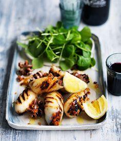 Cuttlefish stuffed with chorizo, breadcrumbs and herbs recipe   Gourmet Traveller WINE recipe - Gourmet Traveller