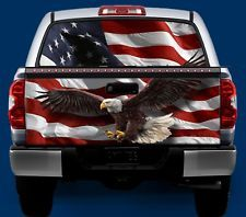 American Flag Bald Eagle Tailgate Window Wrap Kit Truck Vinyl Graphic Decal Tailgate Wraps American Flag Tailgate