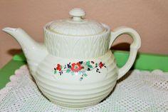 Vintage Hall Floral Drip-O-Lator Coffee Pot Ceramic Enterprise Aluminum Co…