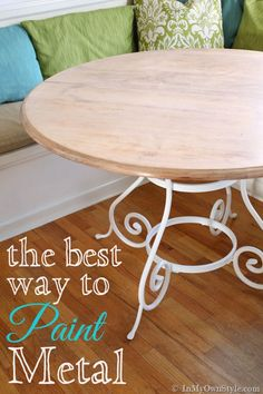 Furniture makeover: How to paint metal furniture so the finish looks like it came from a factory.