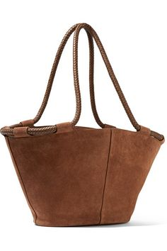 The Row | Market small leather-trimmed suede tote | NET-A-PORTER.COM