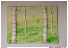 """""""Beautiful Trees"""" by Ann Hawke, member of Embroiderers' Guild Andover branch.  Part of the """"Landscapes and Gardens"""" exhibition at Sir Harold Hillier Gardens 11 April - 30 October 2016 showing work based on the landscape and gardens.. Exhibition held as part of the UK's Capability Brown Festival"""