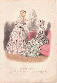 1840s French Fashion Print 2 Ladies Bonnets Sofa Magazine Hand Colored | eBay