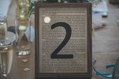 Book themed table numbers for our wedding. No books were harmed though, we printed the text from the Internet, over printed a table number no then aged the sheets.  Each table was a different book.  Each book was one that we loved.