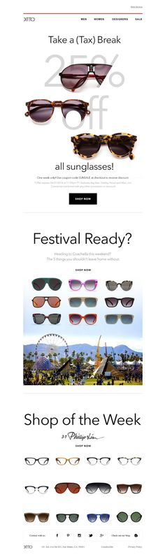 #newsletter Ditto 04.2014 You've Earned a Tax Break | 25% off Sunglasses