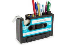 Rewind Desk Tidy Retro Cassette Tape Dispenser Office Gadget Stationery Storage -