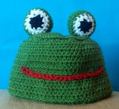 Frog Beanie / Hat / Cap  Kids baby all ages by craftykittycrochet, $15.00