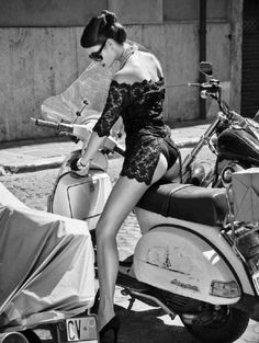 Black lace and Vespa .Italian Glamour. by Helmut Newton. #lace Read More : http://bronzelife.info/beautiful-faces-19/