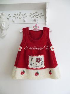 Discover thousands of images about Hello Kitty intarsia sweater dress pattern Knit Baby Sweaters, Knitted Baby Clothes, Knit Baby Dress, Baby Cardigan, Baby Poncho, Knitting For Kids, Baby Knitting Patterns, Hello Kitty Dress, Dress Patterns