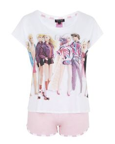 6b84e247ba484 Lyst - Topshop Barbie And Ken Print Pyjama Set in Pink T Shirt Time