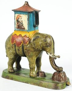 Cast Iron Elephant with Howdah Mechanical Bank.