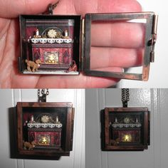 Illuminated Cozy Fireplace Miniature Scene Locket by Sheila A. Nielson: If you will notice, the flames inside the fireplace actually light up, turning slowly on and off.