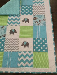 Lime Green/Gray/Aqua Elephant Applique Baby by SewBabySewCreations