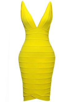 Catching Yellow V Neck Open Back Bandage Dress | martofchina.com