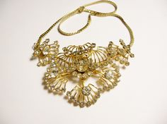 Vintage Gold-toned Necklace Clear Rhinestones Bridesmaid Mother of Bride or Groom Prom Party Special Occasion Gift. $25.00, via Etsy.