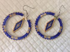 Items similar to OOAK Native Hippie Boho style beaded Hoop earrings Gold Blue geometric diamond chic funky on Etsy Brick Stitch Earrings, Seed Bead Earrings, Diy Earrings, Earrings Handmade, Handmade Jewelry, Hoop Earrings, Beaded Earrings Patterns, Bracelet Patterns, Boho Jewelry