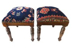 Square Antique Malayer Wood Stools, S/2
