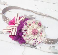 Annual Cystic Fibrosis Fundraiser - headband in plum purple, grape, fuchsia, dusty mauve, magenta & grey - Great Strides SLC Cystic Fibrosis by SoTweetDesigns on Etsy